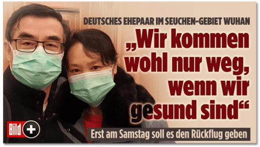 Screenshot Bild.de - Deutsches Ehepaar im Seuchen-Gebiet Wuhan - Wir kommen wohl nur weg, wenn wir gesund sind - Erst am Samstag soll es den Rückflug geben