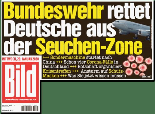 Ausriss Bild-Titelseite - Bundeswehr rettet Deutsche aus der Seuchen-Zone - Sondermaschine startet nach China - Schon vier Corona-Fälle in Deutschland - Botschaft organisiert Krisentreffen - Ansturm auf Schutzmasken - Was Sie jetzt wissen müssen