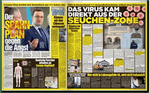 Ausriss Bild-Zeitung - Doppelseite mit verschiedenen Artikeln zum Coronavirus