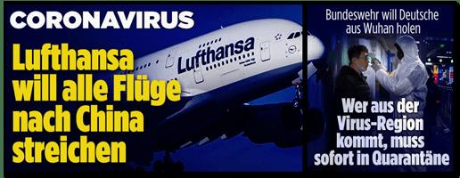Screenshot Bild.de - Coronavirus - Lufthansa will alle Flüge nach China streichen - Bundeswehr will Deutsche aus Wuhan holen - Wer aus der Virus-Region kommt, muss sofort in Quarantäne