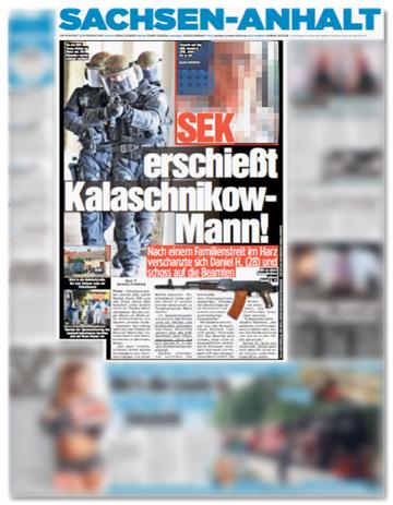 Ausriss Bild - SEK erschießt Kalaschnikow-Mann! Nach einem Familienstreit im Harz verschanzte sich Daniel H. (28) und schoss auf die Beamten