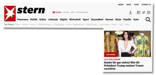 Screenshot der Stern.de-Startseite - Kolumne - Lilli Hollunder - Danke für gar nichts! Wie US-Präsident Donald Trump meinen Traum zerstörte