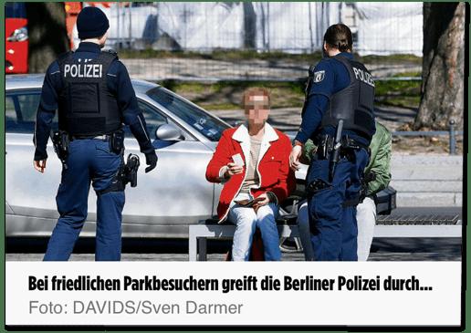 Screenshot Bild.de - Bei friedlichen Parkbesuchern greift die Berliner Polizei durch