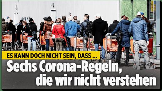 Screenshot Bild.de - Es kann doch nicht sein, dass ... sechs Corona-Regeln, die wir nicht verstehen
