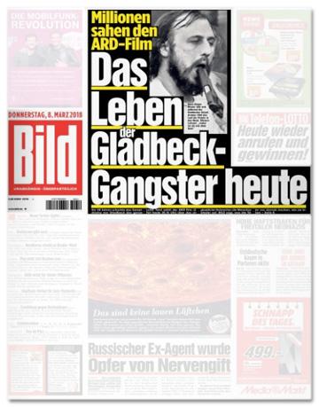 Ausriss Bild-Titelseite - Millionen sahen den ARD-Film - Das Leben der Gladbeck-Gangster heute