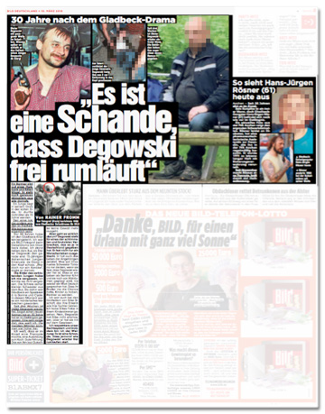 Ausriss Bild-Zeitung - Übersicht der ganzen Seite mit dem Degowski-Foto