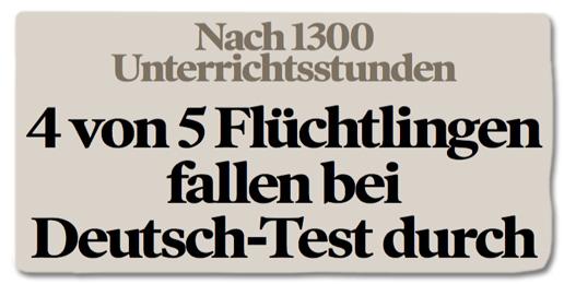 Ausriss Bild am Sonntag - Nach 1300 Unterrichtsstunden - vier von fünf Flüchtlingen fallen bei Deutsch-Test durch