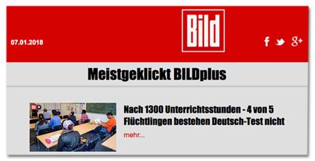 Screenshot Bild.de - Meistgeklickt Bild plus - 4 von 5 Flüchtlingen bestehen Deutsch-Test nicht