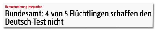 Screenshot bz-berlin.de - Bundesamt: 4 von 5 Flüchtlingen schaffen den Deutsch-Test nicht