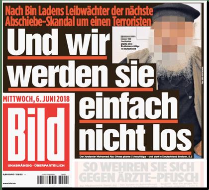 Ausriss Bild-Titelseite - Nach Bin Ladens Leibwächter der nächste Abschiebe-Skandal um einen Terroristen - Und wir werden sie einfach nicht los