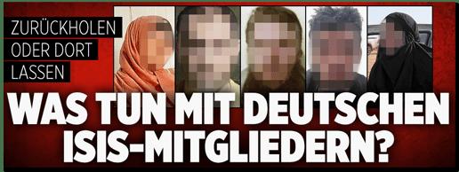 Screenshot Bild.de - Zurückholen oder dort lassen? Was tun mit deutschen ISIS-Mitgliedern?