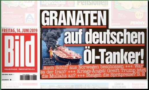 Ausriss Bild-Titelseite - Granaten auf deutschen Öl-Tanker