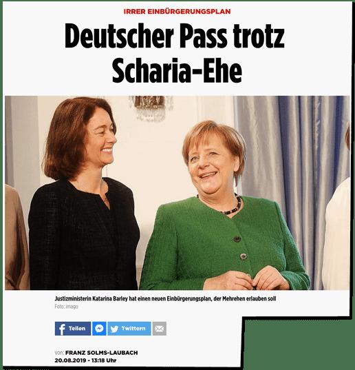 Screenshot Bild.de - Irrer Einbürgerungsplan - Deutscher Pass trotz Scharia-Ehe - Veröffentlichungsdatum: 20. August 2019