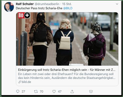 Screenshot eines Tweets von Ralf Schuler - Deutscher Pass trotz Scharia-Ehe