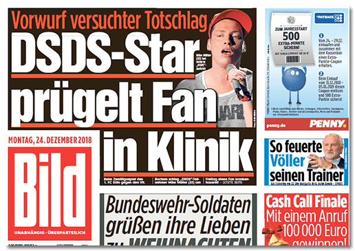Ausriss Bild-Titelseite - Vorwurf versuchter Totschlag - DSDS-Star prügelt Fan in Klinik
