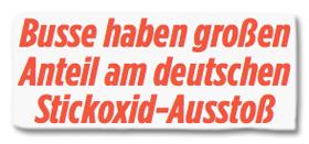 Ausriss Bild-Zeitung - Busse haben großen Anteil am deutschen Stickoxid-Ausstoß