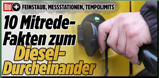 Screenshot Bild.de - Feinstaub, Messstationen, Tempolimits - Zehn Mitrede-Fakten zum Diesel-Durcheinander