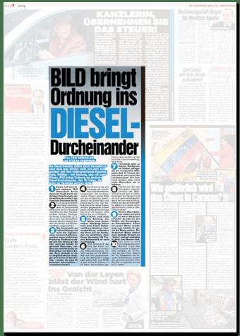 Ausriss Bild-Zeitung - Bild bringt Ordnung ins Diesel-Durcheinander