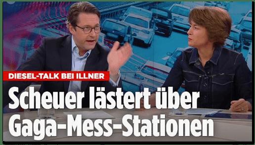 Screenshot Bild.de - Diesel-Talk bei Illner - Scheuer lästert über Gaga-Mess-Stationen
