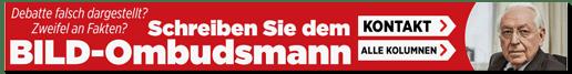 Screenshot Bild.de - Debatte falsch dargestellt? Zweifel an Fakten? Schreiben Sie dem Bild-Ombudsmann