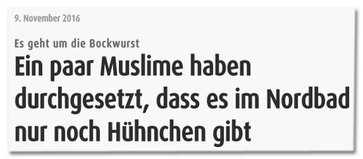Screenshot Stadt-Kurier - Es geht um die Bockwurst - Ein paar Muslime haben durchgesetzt, dass es im Nordbad nur noch Hühnchen gibt