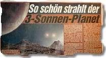 So schön strahlt der 3-Sonnen-Planet