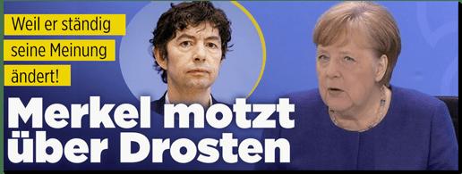 Screenshot Bild.de - Weil er ständig seine Meinung ändert! Merkel motzt über Drosten