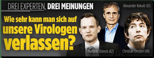 Screenshot Bild.de - Drei Experten, drei Meinungen - Alexander Kekule, Hendrik Streeck, Christian Drosten - Wie sehr kann man sich auf unsere Virologen verlassen?