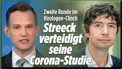 Screenshot Bild.de - Zweite Runde im Virologen-Clinch - Streeck verteidigt seine Corona-Studie