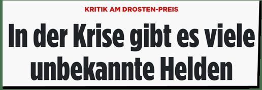 Screenshot Bild.de - Kritik am Drosten-Preis - In der Krise gibt es viele unbekannte Helden