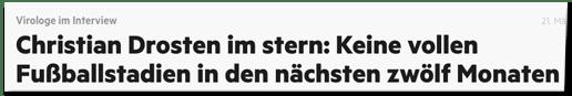 Screenshot Stern.de - Virologe im Interview - Christian Drosten im stern: Keine vollen Fußballstadien in den nächsten zwölf Monaten