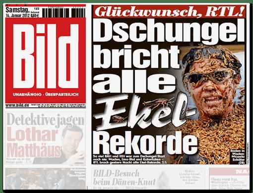 BILD-Titelschlagzeile: Glückwunsch, RTL! Dschungel bricht alle Ekel-Rekorde