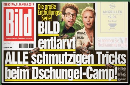 BILD-Titelschlagzeile: BILD entlarvt ALLE schmutzigen Tricks beim Dschungel-Camp!