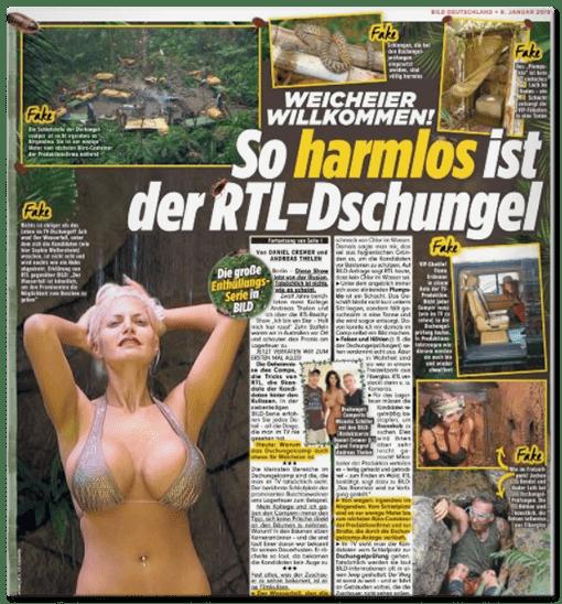 Schlagzeile BILD: Weicheier Willkommen! So harmlos ist der RTL-Dschungel