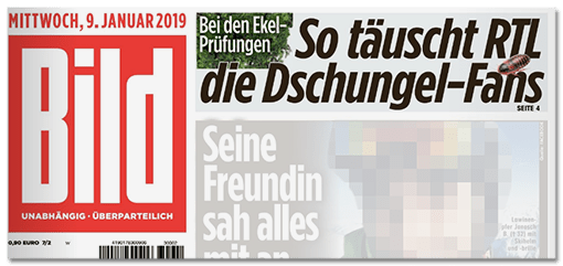BILD-Titelschlagzeile: So täuscht RTL die Dschungel-Fans