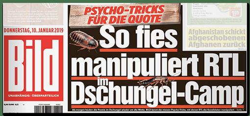 BILD-Titelschlagzeile: Psycho-Tricks für die Quote - So fies manipuliert RTL im Dschungel-Camp