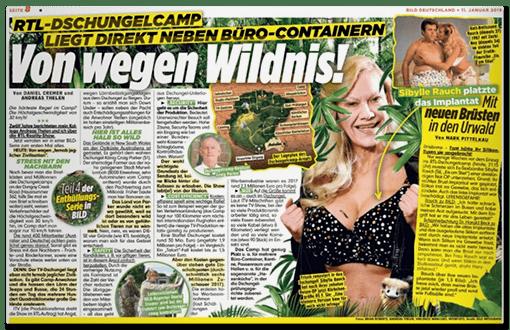 BILD-Schlagzeile: RTL-Dschungelcamp liegt direkt neben Büro-Containern - Von wegen Wildnis!