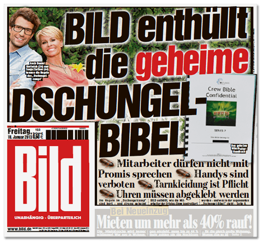 BILD-Titelschlagzeile: BILD enthüllt die geheime Dschungel-Bibel - Mitarbeiter dürfen nicht mit Promis sprechen, Handys sind verboten, Tarnkleidung ist Pflicht, Uhren müssen abgeklebt werden