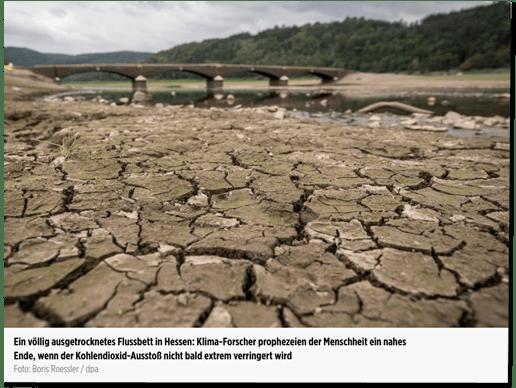 Screenshot Bild.de - das Foto zeigt eine Brücke mit ein bisschen Wasser. Ansonsten große Trockenheit - Bildunterschrift: Ein völlig ausgetrocknetes Flussbett in Hessen: Klima-Forscher prophezeien der Menschheit ein nahes Ende, wenn der Kohlendioxid-Ausstoß nicht bald extrem verringert wird