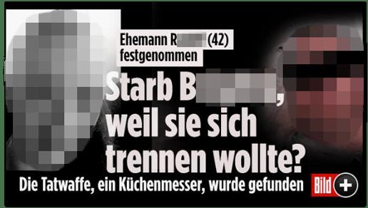 Screenshot Bild.de - Ehemann R. (42) festgenommen - Starb B., weil sie sich trennen wollte? Die Tatwaffe, ein Küchenmesser, wurde gefunden