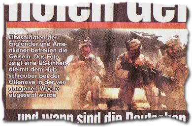 """""""Elitesoldaten der Engländer und Amerikaner befreiten die Geiseln. Das Foto zeigt eine US-Einheit, die mit dem Hubschrauber bei der Offensive in der vergangenen Woche abgesetzt wurde."""""""