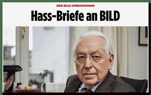 Screenshot BILD.de: Der BILD-Ombudsmann - Hass-Briefe an BILD