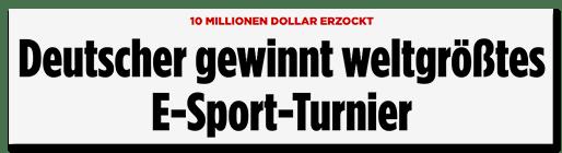 Screenshot BILD.de: 10 Millionen Dollar erzockt - Deutscher gewinnt weltgrößtes E-Sport-Turnier
