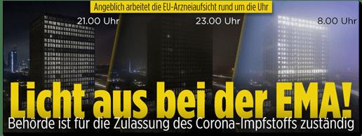Screenshot Bild.de - Angeblich arbeitet die EU-Arzneiaufsicht rund um die Uhr - Licht aus bei der EMA! Behörde ist für die Zulassung des Corona-Impfstoffs zuständig