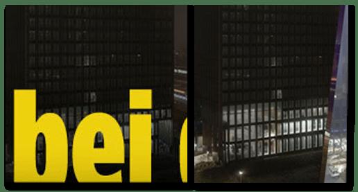 Screenshot Bild.de - zu sehen sind zwei Aufnahmen des EMA-Gebäudes um 23 Uhr, eine von der Bild.de-Startseite, eine aus dem Bild.de-Artikel.