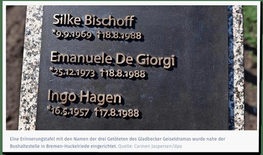 Screenshot ln-online.de - Eine Erinnerungstafel mit den Namen der drei Getöteten des Gladbecker Geiseldramas wurde nahe der Bushaltestelle in Bremen-Huckelriede eingerichtet. - dazu ein Foto der Gedenktafel in Bremen unter anderem mit dem Namen Emanuele De Giorgi
