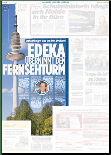 Ausriss Bild-Zeitung - Verhandlungen kurz vor dem Abschluss - Edeka übernimmt den Fernsehturm
