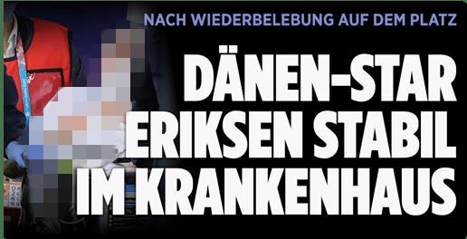Screenshot Bild.de - Nach Wiederbelebung auf dem Platz - Dänen-Star Eriksen stabil im Krankenhaus