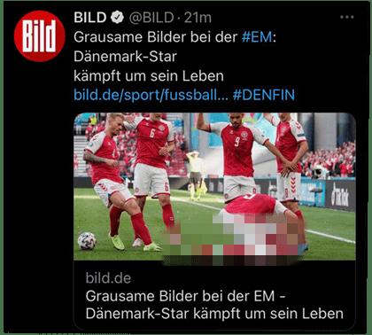 Screenshot eines Tweets der Bild-Redaktion - Grausame Bilder bei der EM: Dänemark-Star kämpft um sein Leben