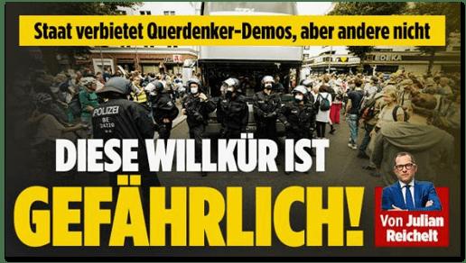 Screenshot Bild.de - Staat verbietet Querdenker-Demos, aber andere nicht - Diese Willkür ist gefährlich!